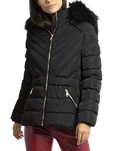 APART warme Damen Jacke, Steppjacke, Winterjacke, Lange Form, Mantel, mit Abnehmbarer Kapuze,34,  Schwarz