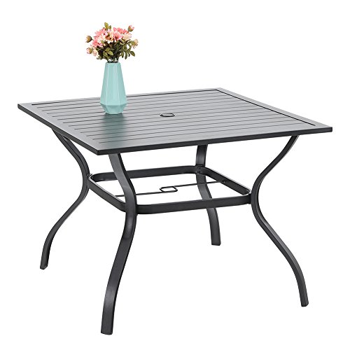"PHI VILLA 37 Inch Metal Steel Slat Patio Dining Table Square Outdoor Furniture Garden Table Backyard Bistro Table with 1.57"" Umbrella Hole, Black"