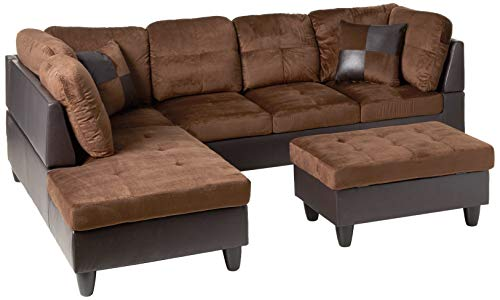 Beverly Fine Furniture Andes Microfiber Leather Sofa Set With Ottoman, Brown