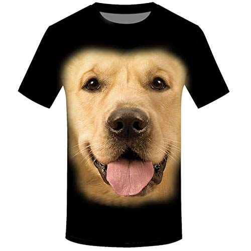 JAMZER Hot Sale Animal T Shirts for Men,Mens Funny Cute Fashion Monkey Printed Design Online Wholesale Casual Black Low Cut Slogan Rock Tee Tops (S, Black-Dog 1)