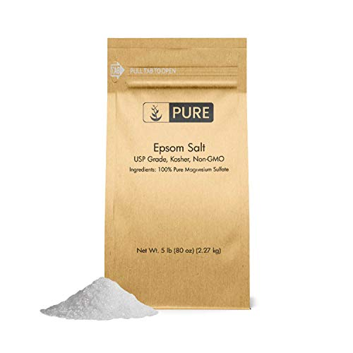 Pure Epsom Salt (5 lb.), Magnesium Sulfate Soaking Solution, All-Natural, Highest Quality & Purity, Top Grade