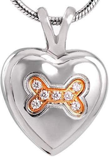 NC110 Unisex de Acero Inoxidable de Moda finamente elaborado con Diamantes de imitación Brillante Hueso de Perro Colgantes de joyería de cremación para Mascotas