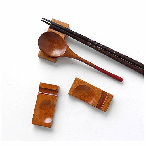 ISKYBOB 4 Pack Japanese Natural Wooden Rectangle Shaped Chopstick Rest Spoon Fork Knife Holder (Spoon/Chopsticks not Included)