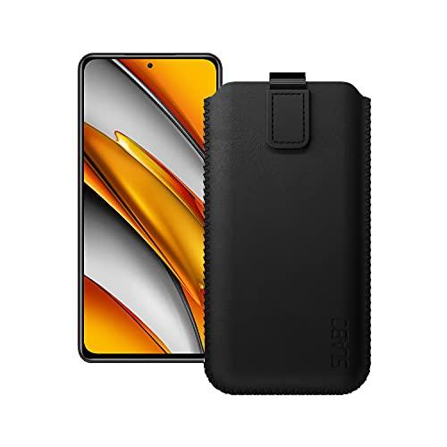 Slabo Schutzhülle für Xiaomi Poco F3 Schutztasche Handyhülle Hülle mit Magnetverschluss aus Kunstleder - SCHWARZ   Black