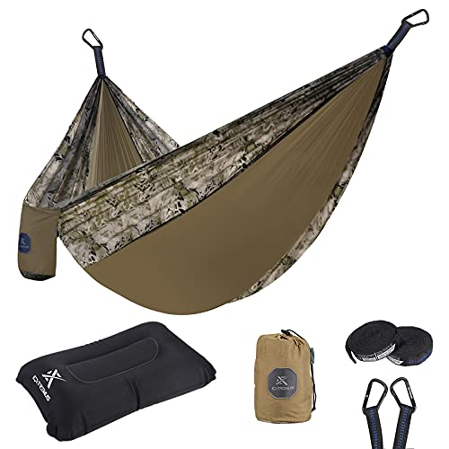 Extremus Single Camping Hammocks, Portable Hammock, Sand Storm/ Gray, 9ft x 4.6ft