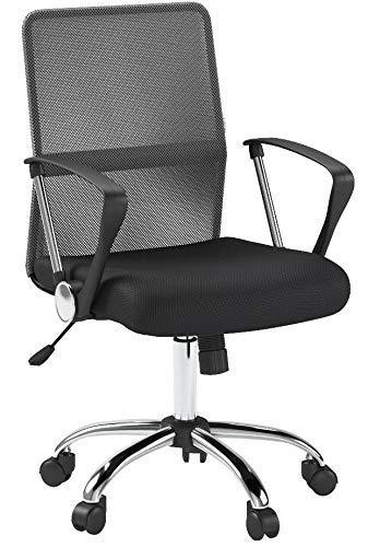 IKAYAA, Executive, sedia da ufficio girevole a 360, ideale per ufficio e lavoro al computer Grey