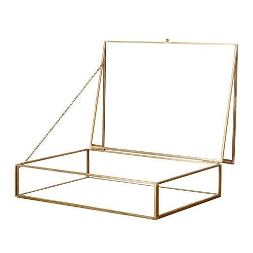 アクセサリーボックス ショーケース ガラス製 ディスプレイ 小物入れ ジュエリーケース ガラスと真鍮でできたジュエリーボックス 店舗装飾