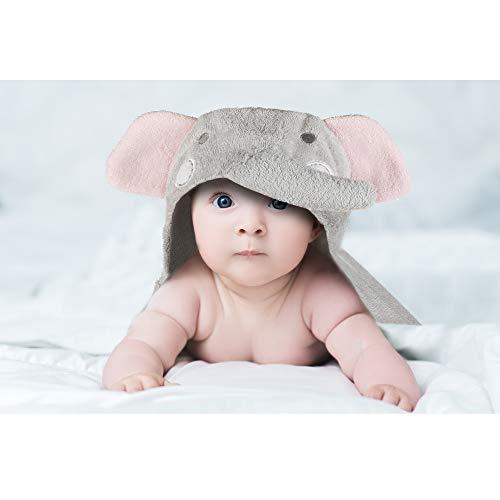 Toalla con capucha para bebé Toalla con capucha en 100% algodón de rizo - Toalla de baño para bebé con capucha - Oeko-Tex 100; Elefante