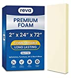 REVA Premium Upholstery Foam 2' x 24' x 72' Cushion - Perfect for Couch and Sofa, Chair and Seat Cushions, Bench Cushions, Bed Padding, Indoor and Outdoor Furniture Cushions, DIY 2 Inch Thick
