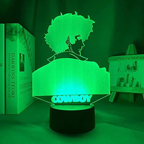 3D Led Illusion Lampe Nachtlicht Usb Anime Cowboy Bebop Spike Spiegel Schlafzimmer Dekor Brithday Room Cowboy Bebop Manga-Mit Fernbedienung