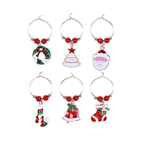 TEBI 6 unids/set de Navidad Copa de Vino Anillo Etiquetas Marcadores Decoración de Mesa de Navidad Colgante Encantos Fiesta Año Nuevo Decoración