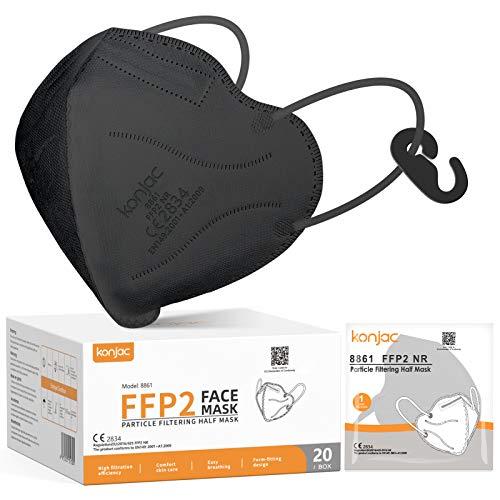 konjac FFP2 Maske Masken Mundschutz 20 stück, Einwegmasken 5-lagig Atemschutzmaske Einweg Gesichtsmaske FFP2 Masken Mund und Nasenschutz Staubschutzmasken für Erwachsene Einmalmasken (schwarz)
