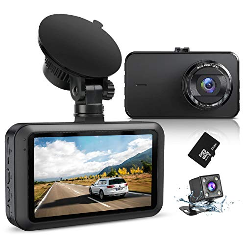 "Dash Cam Front and Rear with SD Card FHD 1080P 3""IPS Screen Dual Camera Dash Cams DVR Car Driving..."