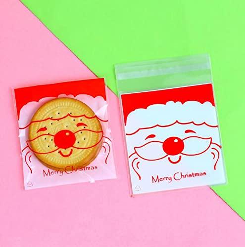 【BEAUTY PLAYER】クリスマス ラッピング袋 ギフトバッグ かわいい 100枚 10*11cm ラッピングバッグ 個包装 粘着テープ付き 半透明袋 おしゃれ プレゼント ベーキング包装用袋 手作りお菓子 お菓子用袋 小分け 製菓用品 (サンタクロ
