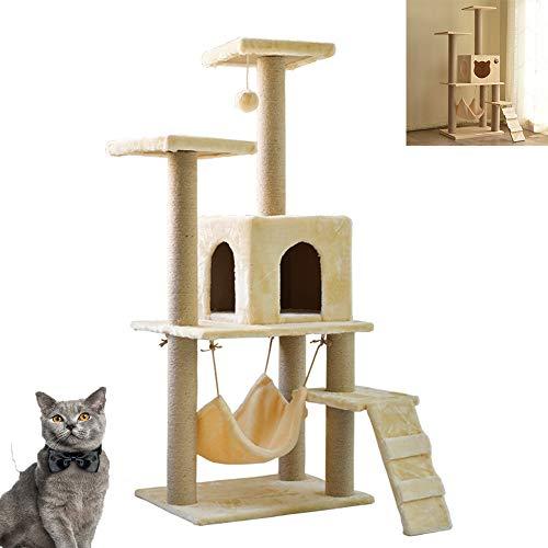 ASUNXL Katzenbett Massivholz-Katzenklettergerüst, Stilvoller Katzenstreu-Kratzbaum, Robuste Und Langlebige Katzensprungplattform, Katzenhaus-Katzenzubehör, Katzenkratzbrett Aus Sisalmaterial