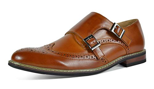 Bruno MARC PRINCE-15 Men's Oxford Modern Classic Brogue Wing-Tip Monk Strap Leather Lined Perforated Dress Oxfords Shoes Brown Size 12
