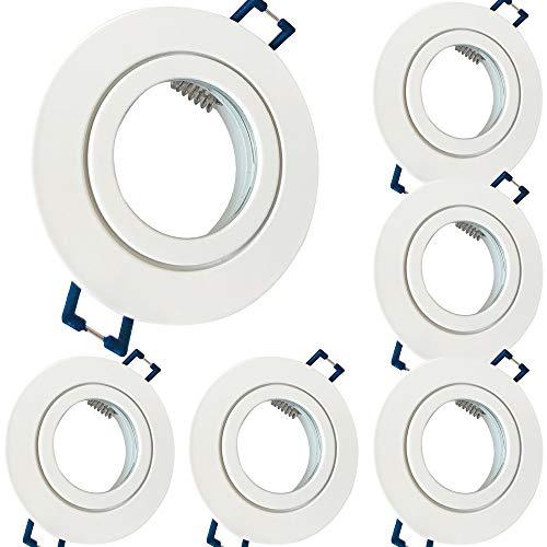 6 x Bad Einbaustrahler 230V inkl. GU10 Fassung Farbe Weiß IP44 Einbauleuchten Aqua Rund Deckenspots