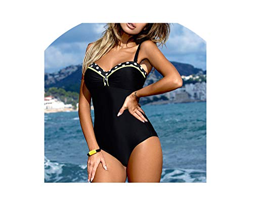 2018 One Piece Swimsuit Plus Size Swimwear Women Push Up Print Patchwork Vintage Retro Swim Wear,01,L