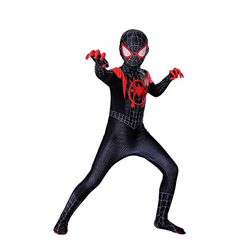 ZUOZHE Spiderman Adulto Nios Expedicin De Hroes Cosplay Poco Negro Spider-Man Traje De Halloween Traje De Impresin 3D Spandex Lycra,130CM(XL)