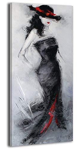 YS-Art Quadro Dipinto Con Colori Acrilici Bellissima Sconosciuta | 115x50cm | Muro|Mano|Arte Moderna|Tela| Unico| Grigio