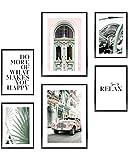 Heimlich Cuadros Decorativos - SIN Marcos -Decoración Colgante para Paredes de Sala, Dormitorios y Cocina - Arte Mural - 2 x A3 & 4 x A4-30x42 & 21x30   » Car Green Vintage «