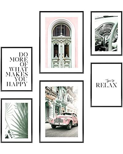 Heimlich Cuadros Decorativos - SIN Marcos -Decoración Colgante para Paredes de Sala, Dormitorios y Cocina - Arte Mural - 2 x A3 & 4 x A4-30x42 & 21x30 | » Car Green Vintage «