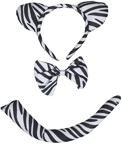 Petitebelle Traje de cola de 3 piezas diadema Bowtie Un tamaño Cebra