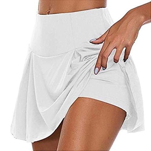BEIFON Gonna Estate con Pantaloncini Vita Gonna Corta Sportiva da Donna, Gonna Corta Sportiva 2 in 1 Gonna Sportiva da Golf da Tennis Gonna da Corsa Elastica da Donna (Bianco, L)