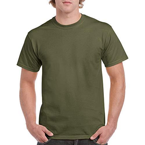 Gildan Men's Heavy Cotton T-Shirt, Style G5000, 2-Pack, Military Green, Large