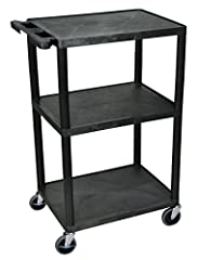 "Multipurpose utility cart perfect for use with audio/video equipment and more. Made of recycled high-density polyethylene structural foam molded plastic shelves that will not scratch, dent, rust or stain. Rolling cart with four 4"" heavy-duty casters,..."
