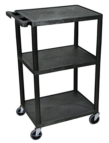 "Luxor 42"" H Mobile Multipurpose Utility Storage Audio Video Presentation Cart with 3 Shelves - Black"
