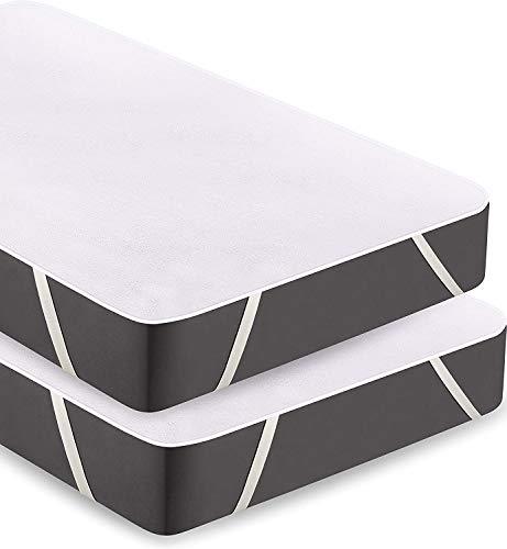 Utopia Bedding Protector de Colchón Impermeable con 4 Bandas Elásticas - Algodón Toalla Cubre Colchón - Transpirable Funda de Colchón (Pack De 2   160 x 200 cm)