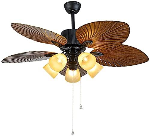 Ventilador de techo con control de luz y control remoto, 52 pulgadas 132 cm con 5 cuchillas de lámpara de 5 cuchillas, 3 Cambio de luz 6 velocidades Función de tiempo