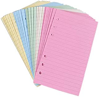 Chris.W Colorful 6-Hole Ruled Refills Inserts for Personal Size Organizer Binder, 5-Color Loose Leaf Planner Filler Paper, 100 Sheets/200 Pages, Lined (3 3/4