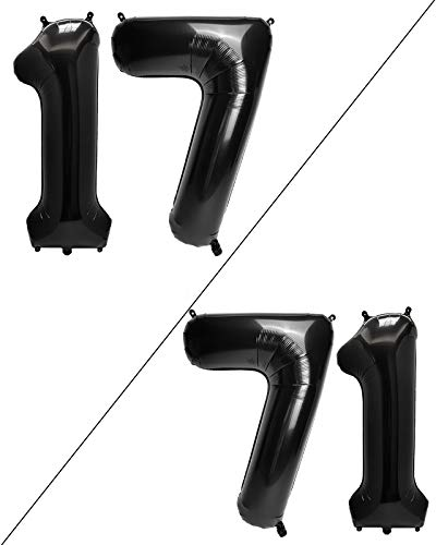 AULE 40 Inch Large 17 Balloon Numbers Black, Big Foil Number Balloons, Giant Helium Happy 17th Birthday Party Decorations for Boy and Girl, Huge Mylar Anniversary Party Supplies