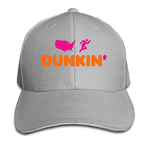 Dunkin Donuts Gorra ajustable de béisbol para papá, gorra de camionero, ideal para actividades al aire libre, Beísbol, talla única , Gris