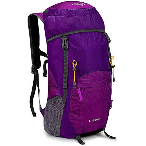 G4Free Large 40L Lightweight Water Resistant Travel Backpack/Foldable & Packable Hiking Daypack(Purple/Red)