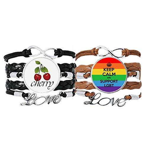 Gay Lesbianas Transgénero Bisexuales Bandera LGBT Pulsera de la mano de la cuerda de cuero cereza amor pulsera doble juego