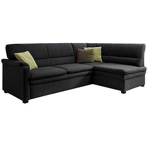 Cavadore Ecksofa Pisoo / Eckcouch mit Schlaffunktion / L-Sofa mit hochwertigem Federkern im klassischen Design / Ottomane rechts / Größe: 245 x 89 x 161 cm (BxHxT) / Farbe: Schwarz