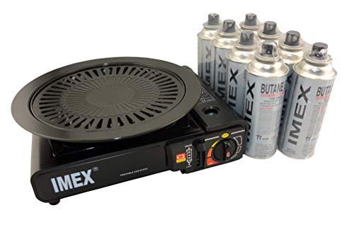 IMEX Camping Gaskocher Set Butan-Kocher im Tragekoffer mit 8 Gaskartuschen + Imex Grillaufsatz Grillplatte