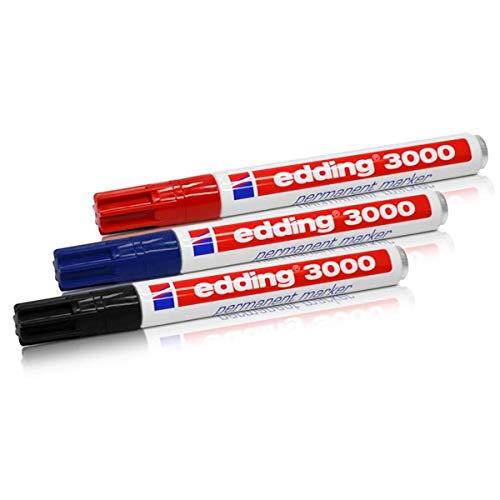 Edding Marcador permanente 3000, 1,5-3,0 mm, 3 unidades, col