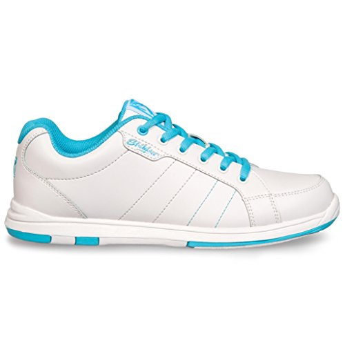 KR Strikeforce - Zapatos de Bolos de satén para Mujer, 10 M, Color Blanco/Aguamarina
