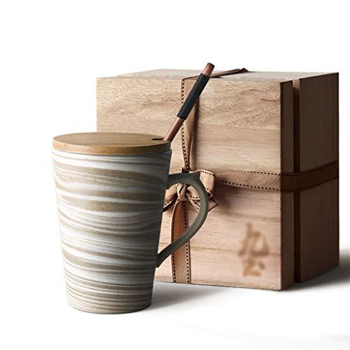 Taza 10.8 oz Patrón de mármol Tazas de cerámica con tapa de madera y cuchara larga Cucharada de taza de café de la taza de té de la taza de té for las mujeres amantes de las mujeres Regalos de los ami