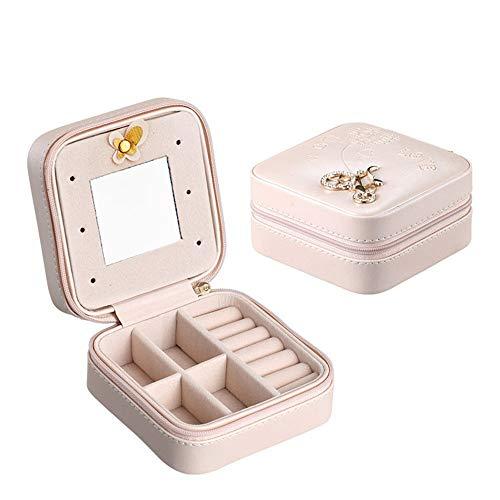 Joyero Joyería del Anillo del Collar de la Caja de almacenaje Organizador de la Joy Gabinete Estuche de Regalo 3 Colores Caja de Almacenamiento de joyería de Cuero (Color : Pink, Size : 10x10x5cm)