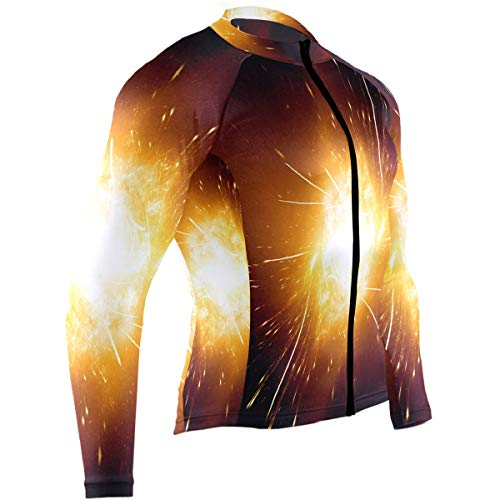 SLHFPX Galaxy Stars Space Starry Universe Night Sky Mens Cycling Jersey Shirts Full Sleeve Outdoor Riding Skinsuits Outfit