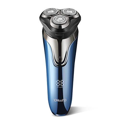 YOHOOLYO Rasierer Herren Elektrisch 3D Rasierapparat Elektrorasierer für Männer mit Ladekabel LED-Display Rotationsrasierer IPX7 Wasserdicht Blau