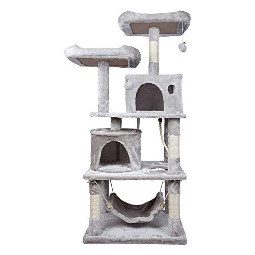 HENGMEI Kratzbaum Kletterbaum Katzenbaum Spielbaum mit Hängematte, Höhle Katzenmöbel für Katzen (Modell B, Hellgrau)