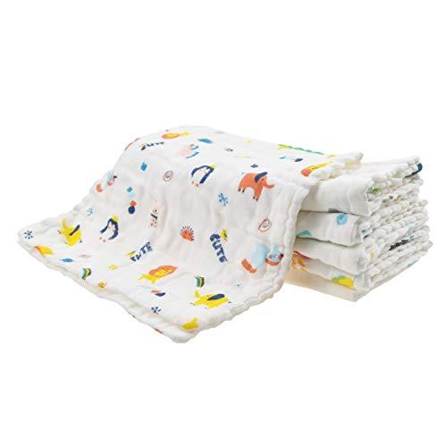 Paños de muselina para eructos, 6 unidades, grandes, 100% algodón, 6 capas, extra suaves y absorbentes, toalla de baño de alimentación de 25 x 50 cm