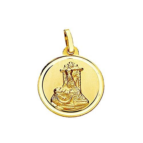 Medalla Oro 18K Virgen Angustias 18mm. Lisa Bisel [Aa2560Gr] - Personalizable - Grabación Incluida En El Precio