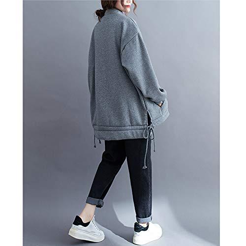『Semo1mus レディース ジャケット 冬 コート カジュアル 防寒 ゆったり 厚手ファッション 体型カバー おしゃれ グレー』の1枚目の画像